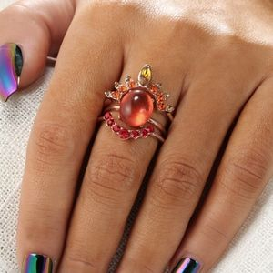 PREVIEW Rose Gold Fire Red Opal Crystal MIDI Rings
